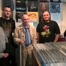 Sven Ake Johansson visiting our recordstore (with Rüdiger Carl and Oliver Augst)